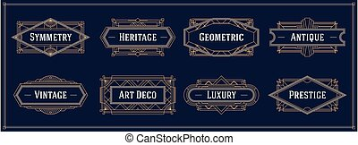 Art deco style line border and frames, decorative geometric golden label vector graphic elements on a dark background