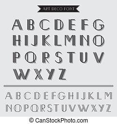 Art Deco Type Font, Vintage Typography - in vector EPS10