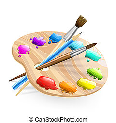 art palette wirh brushes, pencil and paints