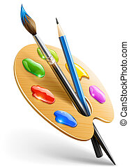 Art palette with paint brush and pencil tools for drawing vector illustration EPS10. Transparent objects used for shadows and lights drawing.