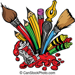 Art and Back to School Supplies- Paint Brushes, Pencils, Oil Paint, Pens, and Crayons Cartoon Vector Image