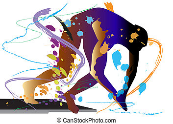 fly, art, man, body, jump, team, style, water, design, sports, summer, graphic, swimming, background, illustration, stroke brush, swiming pool, action sports, white background