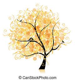 Art tree beautiful, golden leaf