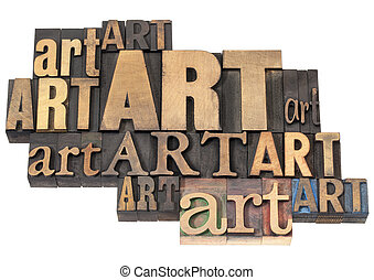 art word abstract - isolated text in a variety of vintage letterpress wood type printing blocks