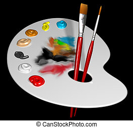 Illustration of an artist palette and brushes isolated on black