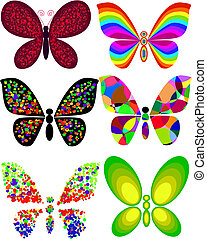 Collection of artistic butterfly