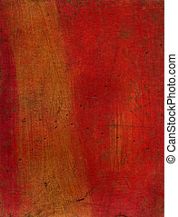 Artistic mixed media texture experiment - red and gold
