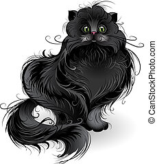 artistically painted , fluffy black cat of Persian breed , sits on a white background.