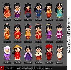Asian girls in national dress.