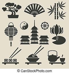 Asian icons set - vector illustration. eps 8