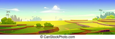 Asian rice field terraces in mountains landscape. Paddy plantation, cascades farm in mount of China, Vietnam, Thailand or Philippines, meadow with green grass scenery view, Cartoon vector illustration