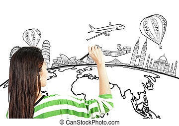 asian woman drawing or writing dream travel around the world