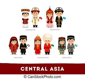 Asians in national clothes. Central Asia.