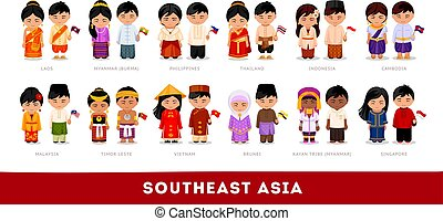 Asians in national clothes. Southeast Asia. Set of cartoon chara