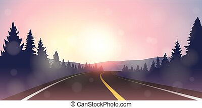 asphalt road in the mountains purple winter landscape