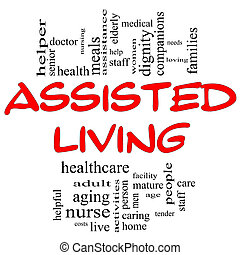 Assisted Living Word Cloud Concept in red and black with great terms such as nurse, health, care, elderly, help, tender, needs and more