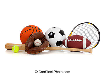 Assorted sports equipment on white