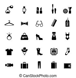 Assortment of Black Clothing and Accessory Icons on White Background