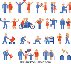 Assortment of Blue and Red Family and Couple Pictogram Icons