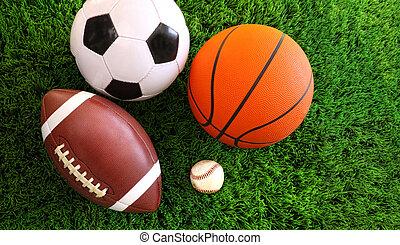 Assortment of sport balls on green grass