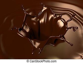 Astonishing chocolate splash. Clean, detailed render. Backgrounds series.