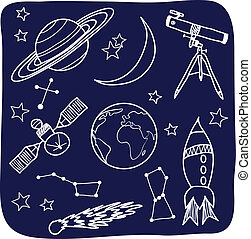 Drawing of astronomical objects - hand-drawn illustration