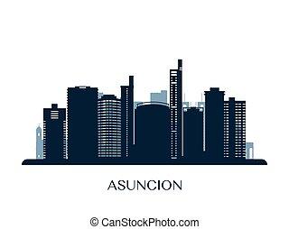 Asuncion skyline, monochrome silhouette.