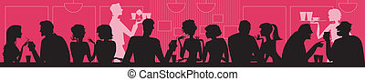 Vector silhouettes of people at cafe