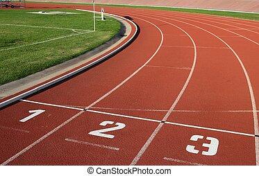 Lane numbers on a athlectics tartan track