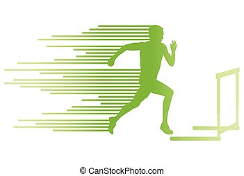 Athlete man hurdling in track and field vector background concept