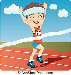 Young athlete man winning Olympic games sprint race competition