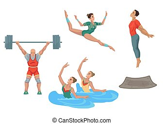 Olympic sports, various athletes, exercises. Light and weightlifting, boarding and jumping. Vector characters, flat cartoon style illustrations