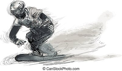 SNOWBOARD. From the series SILENT HEROES - Athletes with physical disabilities. An hand drawn vector