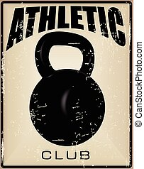 Old card sports club with weights and text. Vector illustration.