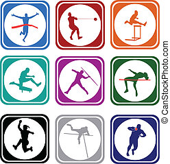 Athletics icons - vector
