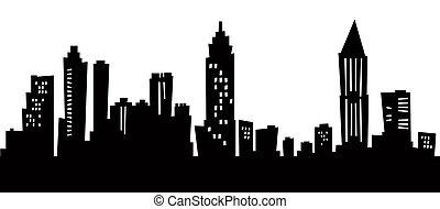 Cartoon skyline silhouette of the city of Atlanta.
