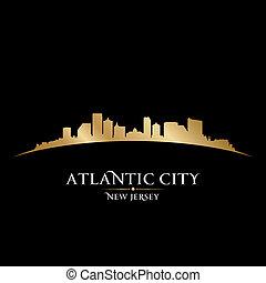 Atlantic city New Jersey skyline silhouette black background