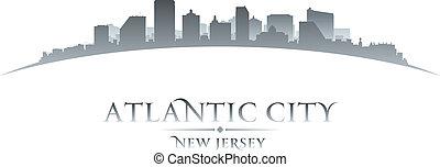 Atlantic city New Jersey skyline silhouette white background
