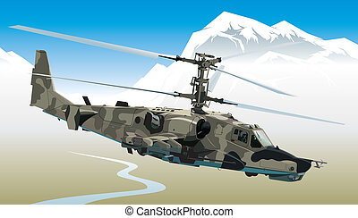 Vector illustration attack helicopter in the mountains EPS8 format.