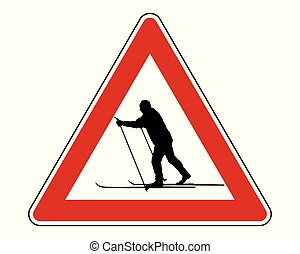Attention sign cross-country skiing