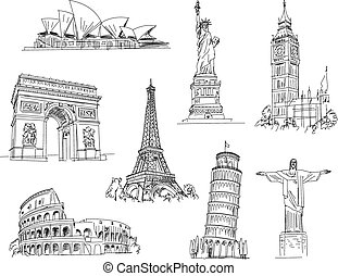 Attractions of the world. Freehand drawing. Vector illustration. Isolated on white background