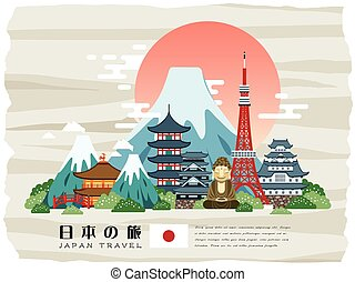attractive Japan travel poster - Japan Travel in Japanese words