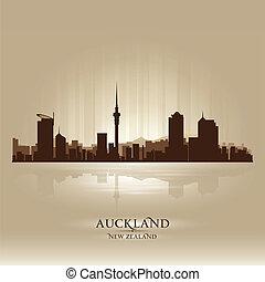 Auckland New Zealand skyline city silhouette