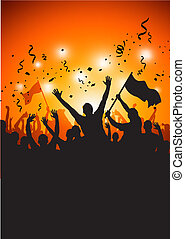 A happy crowd at a concert or stadium. Vector Illustration.