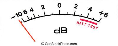 Audio decibel meter scale isolated over white.