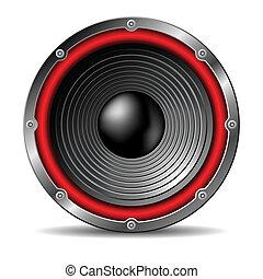 Audio speaker on white background.
