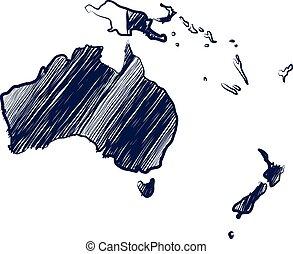 Australia continent map hand drawn background vector, illustration