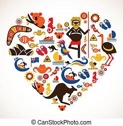 Australia love - heart with set of vector illustrations