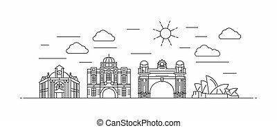 Australia panorama. Australia vector illustration in outline style with buildings and city architecture. Welcome to Australia.