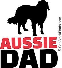 Australian Shepherd dad with dog silhouette